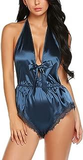 Avidlove Women Lingerie Satin Bodysuit Teddy Babydoll One Piece Halter Pajamas Deep V Jumpsuit Short Nightwear