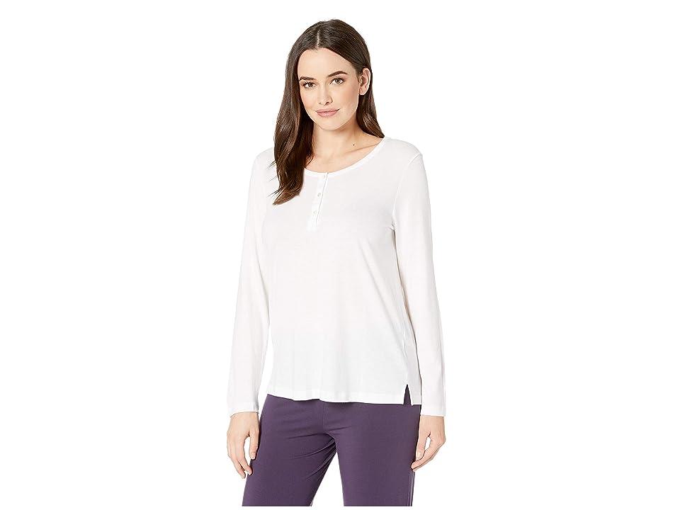 Hanro Sleep Lounge Long Sleeve Henley Shirt (White) Women