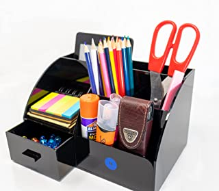 Xinsier Acrylic Desktop Organizer Office Supplies Caddy Multi-Functional Desk Accessories Pencil Pen Holder with 6 Compartments and 1 Drawer for Home, Office, School