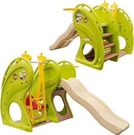 LittleTom Scivolo Altalena di plastica casetta 180x110x120cm verde-marrone-beige