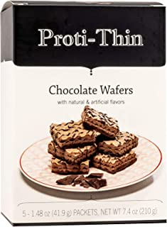Proti-Thin High Protein Wafer Squares - Chocolate - 5 Servings - 2 Wafers per Serving - Diet Wafer Bars - Healthy Snack - Low Sugar - Low Carb - Aspartame Free