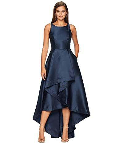 Adrianna Papell Mikado High-Low Gown (Midnight) Women