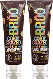 Broo Craft Beer Color Crazed Mend and Extend Shampoo and Conditioner Quinoa Colada Natural Scent Color Safe and Vegan