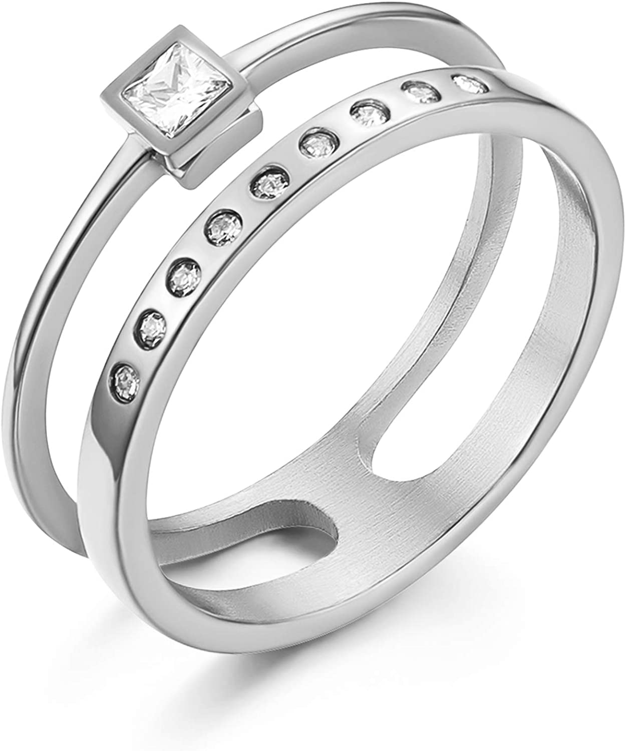 HZMAN Women Engagement Wedding Stainless Steel Jewelry Hollow Design Inlaid Cubic Zirconia Eternity Ring Size 6-9