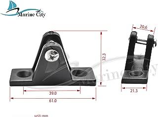 MARINE CITY 2 Pcs Boat Bimini Top Nylon Black 80 Degree Deck Hinge
