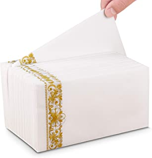 Paper Hand Towels for Bathroom, Air Laid Linen Feel Golden Napkins Durable Decorative Paper Hand Towel Also Suitable for Multiple Occasion All kinds of parties, Wedding, Thanksgiving Day and Christmas