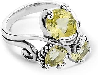 Sterling Silver Lemon Quartz 3-Stone Cluster Ring Size 5 to 10