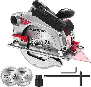 comprar comparacion Meterk Sierra Circular, 1500W Sierra Circular 4700RPM, Corte 65mm (90º), 45mm (45º), 2 Discos 24T+40T: 185 * 20 * 2mm, Guí...