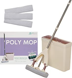 Poly Mop PVA Sponge Mop Bucket - Wash, Dry and Store Floor Cleaner - Ultra Absorbent PVA Sponge, Extendable Handle, Compact Pail, Easy Storage - 3 Mop Heads Included