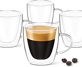 DLux Espresso Coffee Cups 3oz, Double Wall, Clear Glass Set of 4 Glasses with Handles, Insulated Borosilicate Glassware Te...