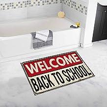 Soefipok Vintage Welcome Back to School Vintage Signo de Metal Oxidado Alfombra de baño Suave y Peluda Alfombra de Goma Antideslizante Alfombras de baño