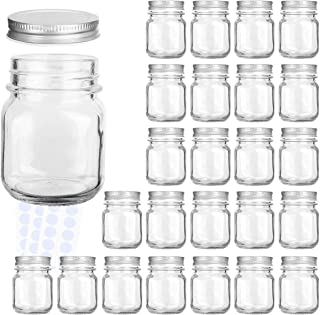 Glass Jars, KAMOTA 4 oz Mini Glass Jars with Lids Perfect for Mason Jars, Canning Jars, Favor Jars, Baby Food Jars, DIY Magnetic Spice Jars, Jam Jars,24 PACK,30 Whiteboard Labels Included