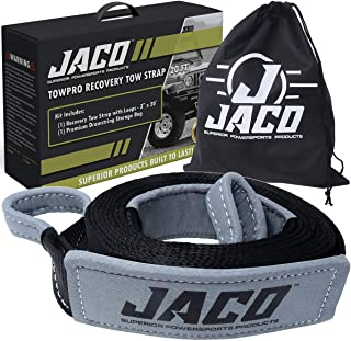 JACO TowPro Recovery Tow Strap (3 in x 20 ft) | 4x4 Trail Rated | AAR Certified Break Strength (31,518 lbs) | Heavy Duty Off Road Recovery Strap with Closed Loops | Emergency Towing Rope