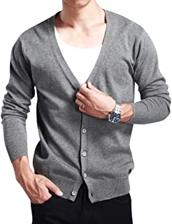 Sliktaa Men's Knitwear Cardigan Casual Design Knit Jacket Long Sleeve Open Front V Neck Button Winter Warm Jumper 100% Cotton