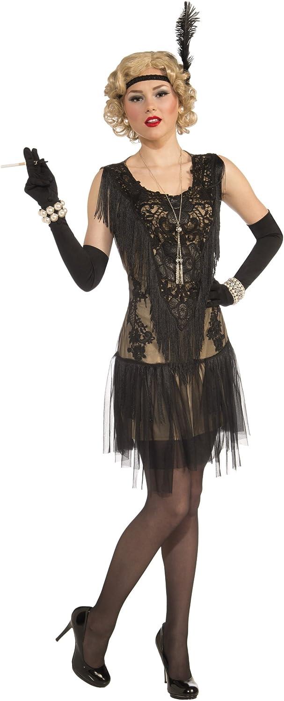 Ladies Deluxe schwarz Roaring 20'S Lacey Flapper Fancy Dress Costume B015K1448W Schönes Design  | Erste Qualität