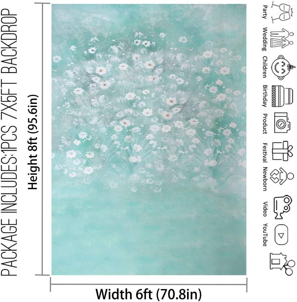 Allenjoy 6x8ft Teal Floral Photography Backdrop Supplies for Girls Princess Sweet 16 Birthday Party Decors Summer Studio Bridal Baby Shower Cake Smash Portrait Pictures Professional Shoot Props Favors
