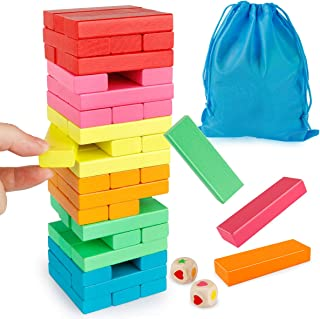Coogam Wooden Blocks Stacking Game with Storage Bag, Colorful Toppling Tower Building Blocks Balancing Puzzles Toys Learning Educational Sorting Family Games Montessori Toys Gifts for Kids Toddlers