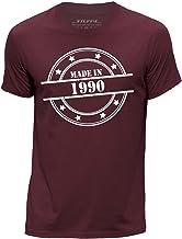 Stuff4 Hombres/Grande (L)/Borgoña/Cuello Redondo de la Camiseta/Made In 1990