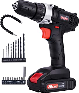 TOOI TOOL 20V Max Cordless Drill, Power Drill/Driver Tool Kit with Lithium Ion Battery/Charger,...