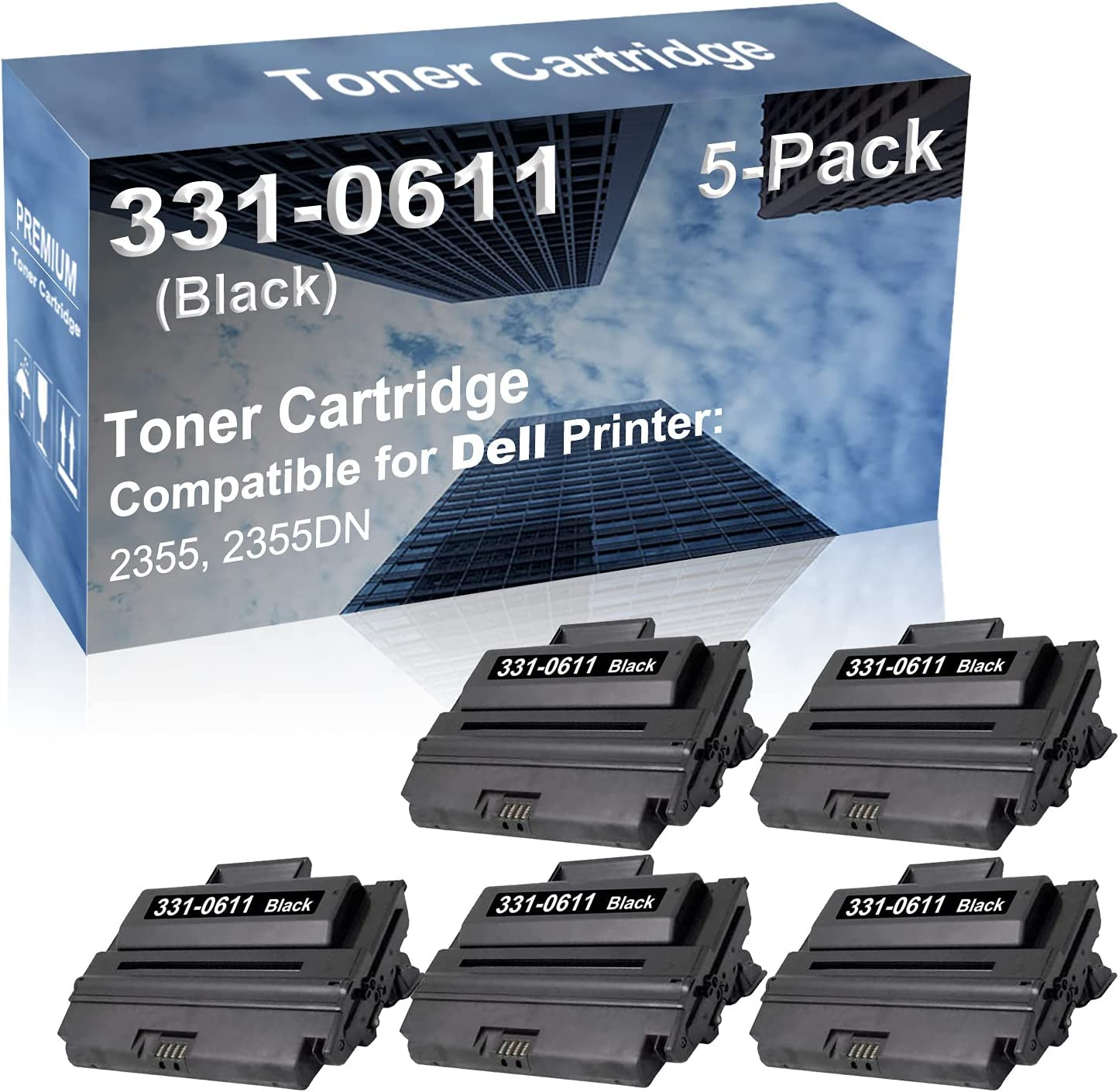 5-Pack Compatible High Yield 2355, 2355DN Printer Cartridge Replacement for Dell 331-0611 Toner Cartridge (Black)