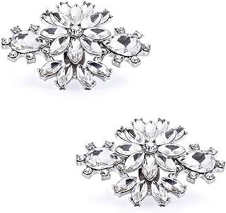 ElegantPark DM Women Diamond Rhinestones Shoe Clips Decorative Wedding Party Accessories Charms Jewelry Decoration