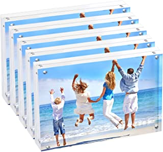 hblife Acrylic 5x7 Picture Frame, 20% Thicker 4 Magnet Double Sided Clear Acrylic Photo Frames Desktop Display with Gift Box Package, 12 + 12MM Thickness, 5-Pack