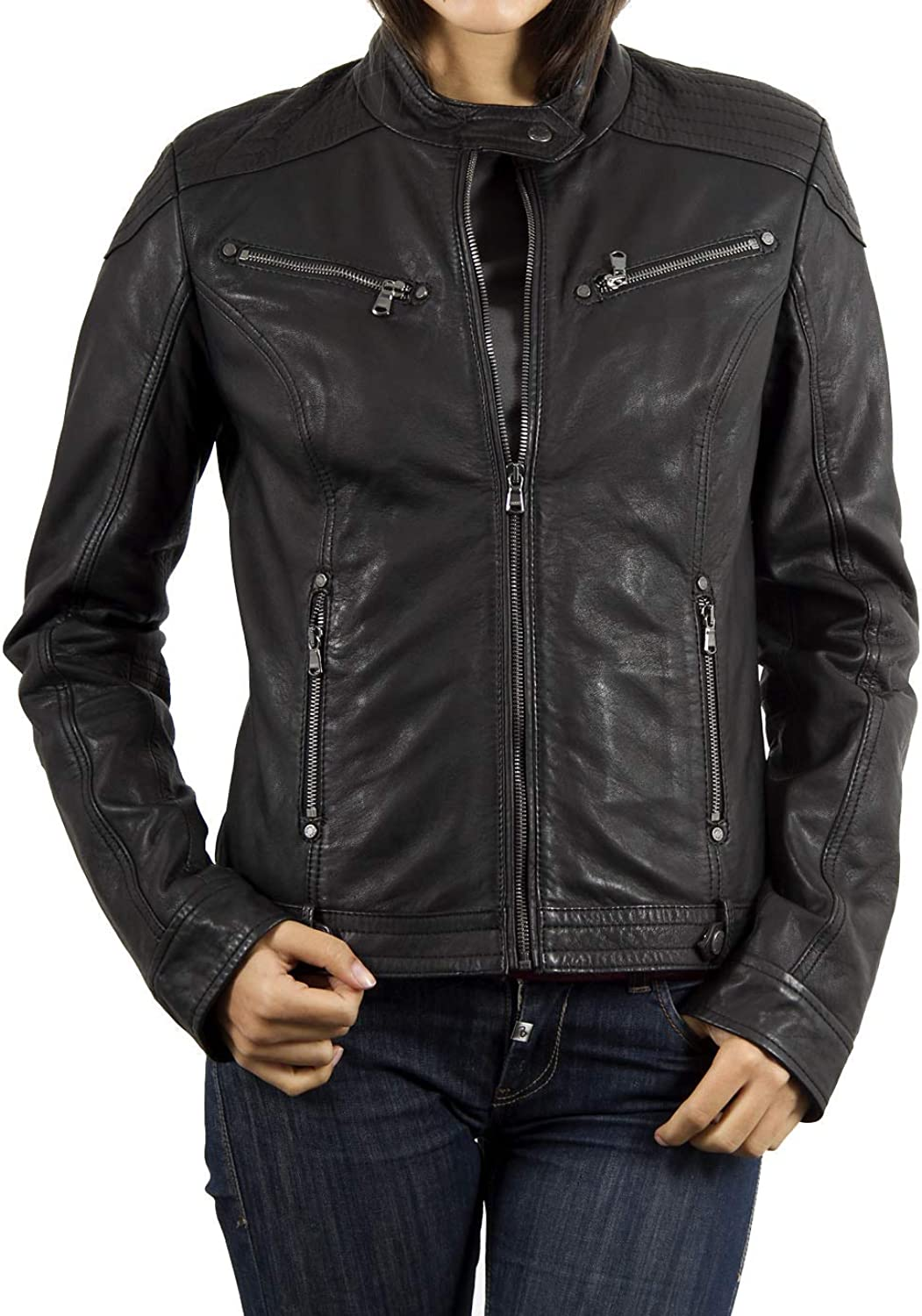 Women's Stylish Lambskin Genuine Leather Jacket WJ69