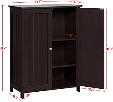 Topeakmart 31.7in H Bathroom Floor Cabinet Free-Standing 2-Door Storage Cabinet with 2 Adjustable Shelves, Anti-toppling Desi