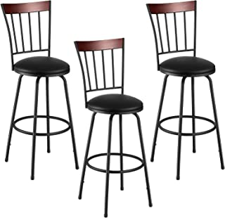 kealive Bar Stools Set of 3 Adjustable Height PU Leather Barstools Swivel Metal Counter Chair with High Back and Circular Footrest, Bistro Pub Breakfast Kitchen Chairs