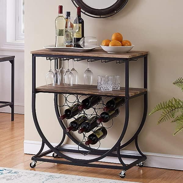 O K FURNITURE Industrial Bar Cart On Wheels For Home Wine Rack Cart With Glass Holder Vintage Brown