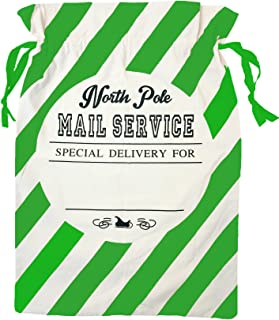 Tree Buddees North Pole Mail Service Personalizable Christmas Gift Bag (Green Stripes)