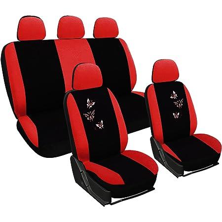 Woltu As7243 Sitzbezüge Auto Schonbezüge Universal Größe Butterfly Stickerei Schwarz Rot Auto