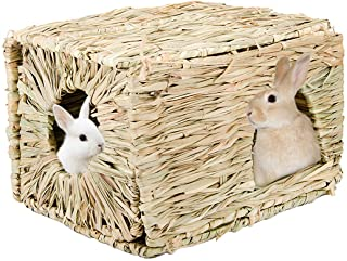 Hand Crafted Extra Large Grass House for Rabbits Guinea Pigs Small Animals Edible Natural Grass Hideaway Foldable Toy Hut ...