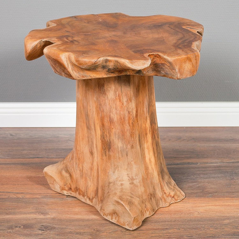LEBENSwohnART Teak Beistelltisch MELAYA Natural  ca. 45cm massiv Couchtisch Nachttisch