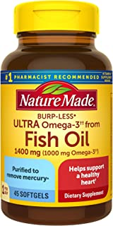 Fish Oil Burp-Less Ultra Omega 3 1400 mg One Per Day, 45 Softgels, Fish Oil Omega 3 Supplement For Heart, Brain, and Eye H...