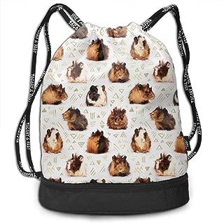 Girls Boys Drawstring Backpack Theft Proof Lightweight Beam Backpack, Travel Shoulder Bags - Guinea Pigs Waterproof Backpack Soccer Basketball Bag