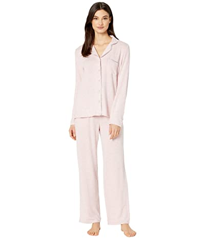 Kate Spade New York Sweater Knit Jersey Long Pajama Set (Pink Heather) Women