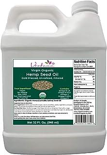 Verdana Organic Cold Pressed Unrefined Canadian Hemp Seed Oil – 32 Fl oz – Liquid Extract - Non-GMO - Kosher Food Grade – ...