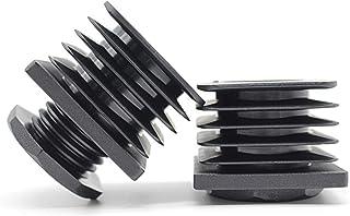 10 tapones de ajuste con rosca para tubos cuadrados, de plástico de poliamida de alta calidad, capacidad de carga de hasta 400 kg, cuadrados, Negro