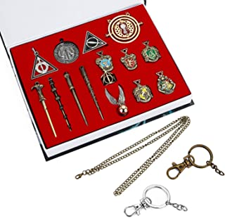SpyShop Mini Magic Wands Set Cosplay Toy Metal Wands Time Turner Necklace Set for Kids with Keychain Necklace as Decoration Children's Party Supplies (15pcs/Set)