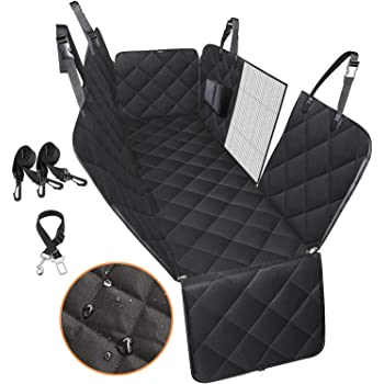 Petech Car Seat Cover for Dogs, 100% Waterproof Dog Seat Cover for Back Seat with Front Flap Zipper, Scratchproof Dog Car Hammock for Cars, Trucks, SUVs, Jeep, Nonslip Back Seat Protection, Black