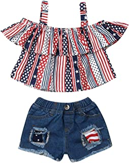 Muasaaluxi Newborn Baby Girls 3Pcs My First Rodeo Outfits Short Sleeve Romper Bodysuit Denim Shorts Bowknot Headband Set