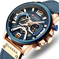 Men's Sport Chronograph Wristwatch Military Casual Waterproof Leather Watch for Men with Date...