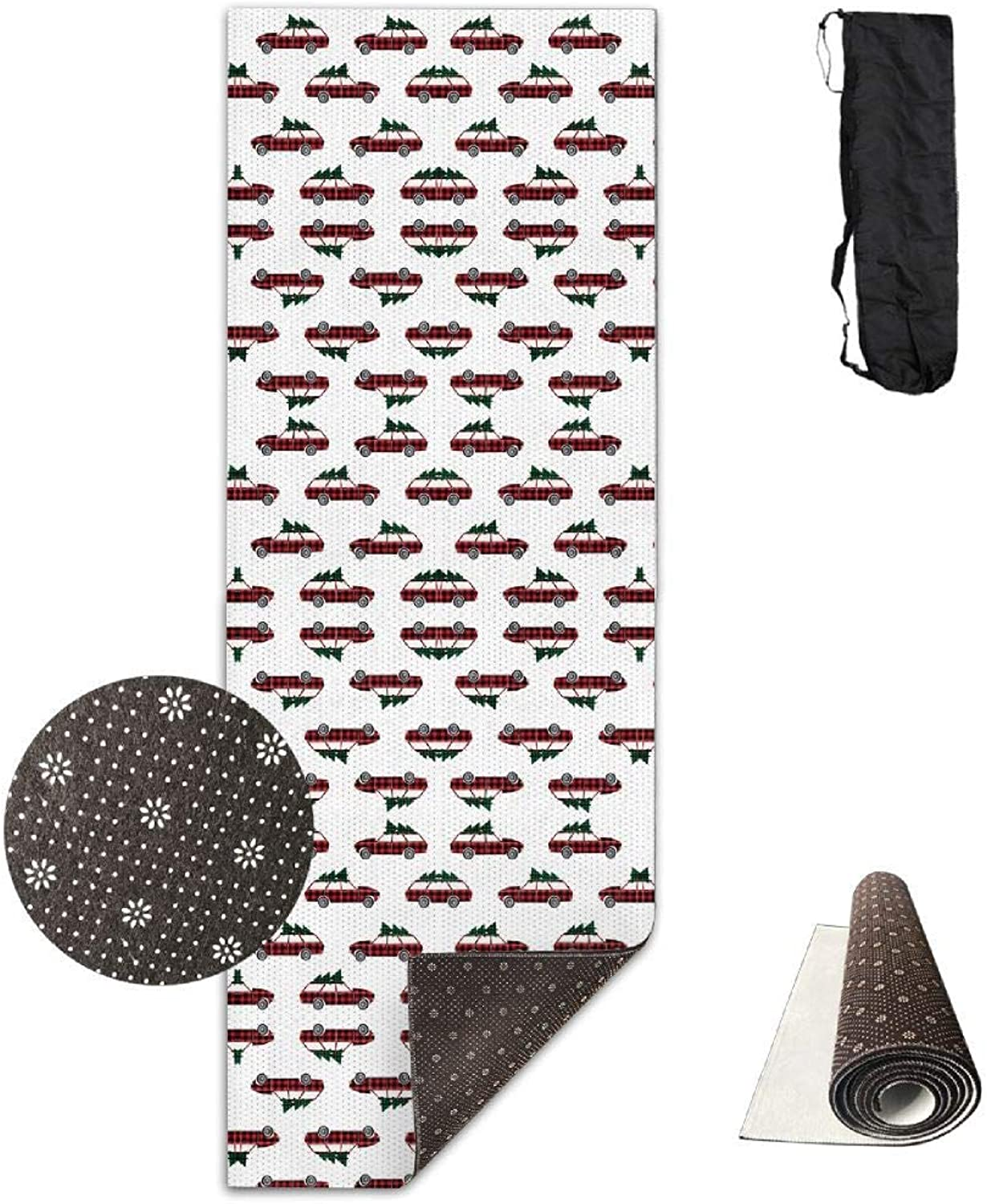 70Inch Long 28Inch Wide Comfort Velvet Yoga Mat, Christmas Wagon Christmas Red and Green Plaid Fabr Mat Carrying Strap & Bag
