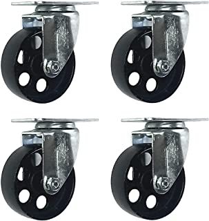 3 inch Metal Swivel Steel Caster No Brake (4 Pack)