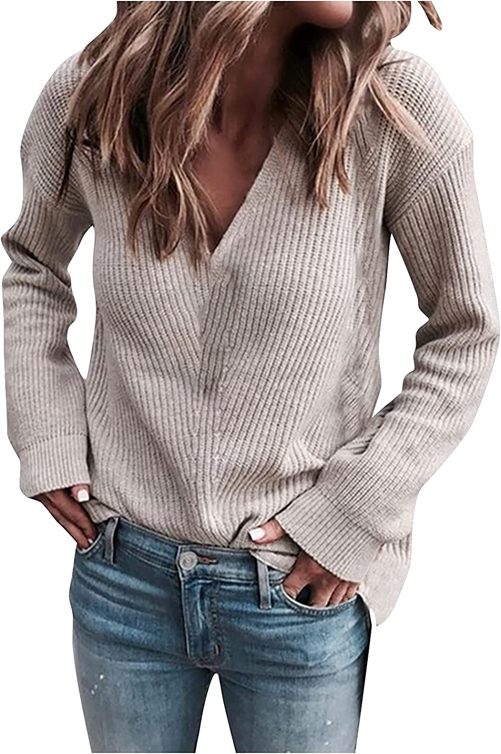 Yahari Womens Baggy Knitted Sweater Jumper Sexy Ribbed V Neck Long Sleeve Knitwear Solid Sweaters Pullover Tops Blouse