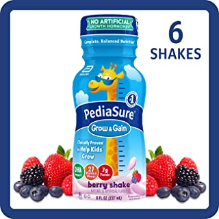PediaSure Grow & Gain Kids' Nutritional Shake, with Protein, DHA, and Vitamins & Minerals, Berry, 8 fl oz, 6 Count