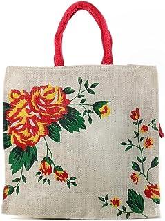 100% Natural, Bio degradable, Eco friendy, fashionable, handicrafts bags Handmade Hand Bags Eco Reusable Flower Print Jute...