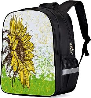 Backpack for School - Flower Bookbag, Sunflower Colored Paint Splattered Girls School Bags Kids Bookbags Teens Shoulder Bag Casual Laptop Bag with Bottle Side Pockets