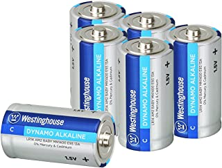Westinghouse Alkaline C Batteries (Size C, 6-Pack), Leak-Proof & Long-Lasting Technology Size C Primary Batteries with Lasting Power for High Drain Devices (Non-Rechargeable)